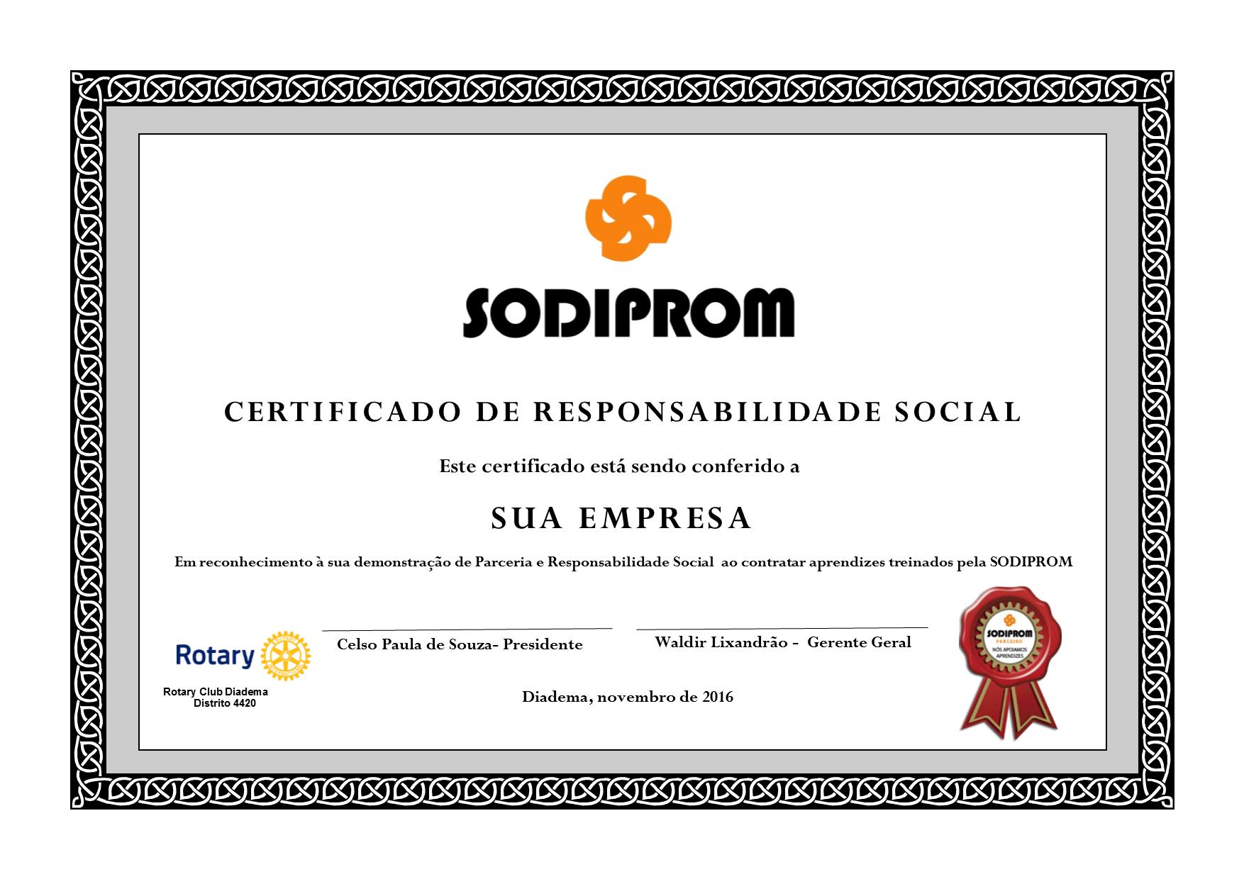 Certificado de Responsabilidade Social edição 2016